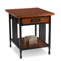 Leick Ironcraft End Table in Burnished Oak