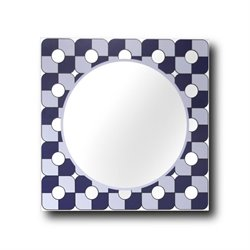 Leick Decorative Wall Mirror in Blue and Gray