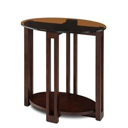 Leick Favorite Finds Oval Glass Top End Table in Chocolate