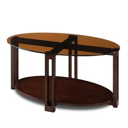 Leick Favorite Finds Oval Glass Top Coffee Table in Chocolate