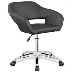 Leick Favorite Finds Faux Leather Upholstered Office Chair in Black