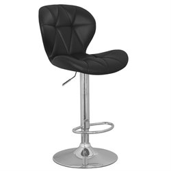 Leick Favorite Finds Faux Leather Swivel Bar Stool in Black (Set of 2)