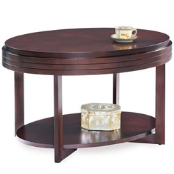 Leick Favorite Finds Oval Coffee Table in Chocolate Cherry