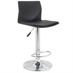 Leick Faux Leather Swivel Bar Stool in Black (Set of 2)