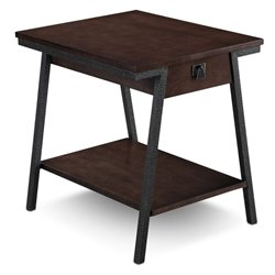 Leick Empiria Single Drawer End Table in Walnut and Foundry Bronze