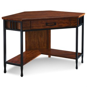 Leick Ironcraft Corner Computer Desk in Mission Oak