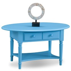 Leick Coastal Notions Oval 2 Drawer Coffee Table with Shelf-SH2