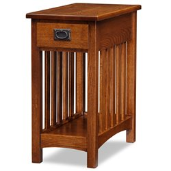Leick Furniture Mission End Table with Shelf in Medium Oak Finish