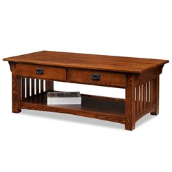 Leick Furniture Mission Coffee Table with Drawers and Shelf in Oak
