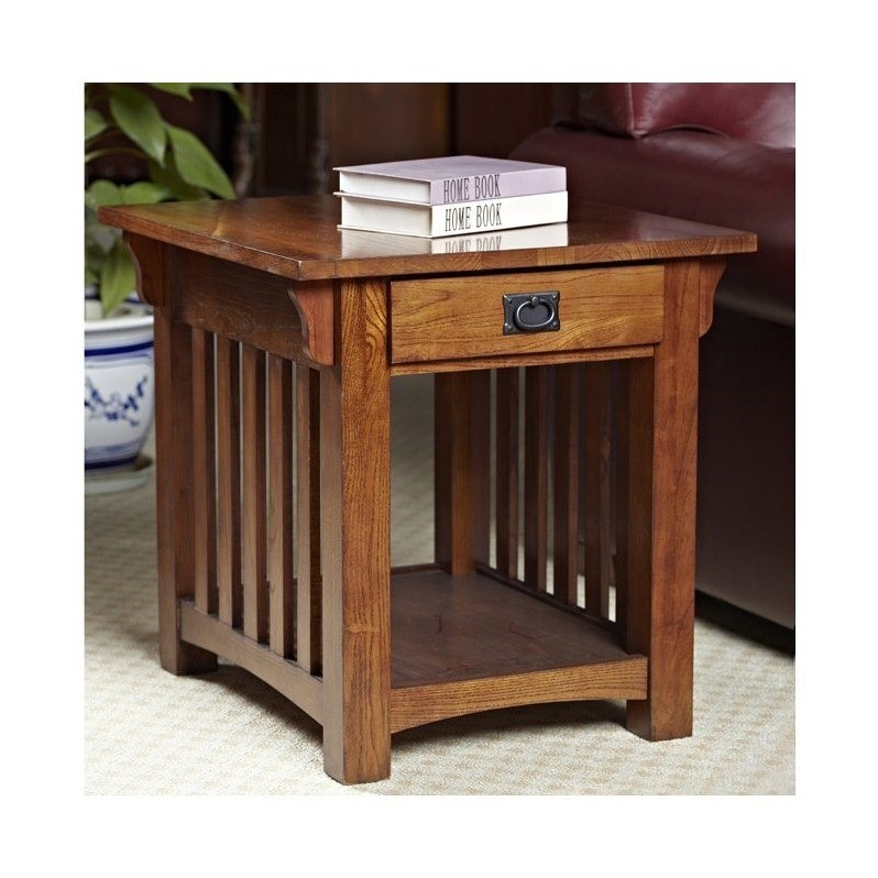Leick Furniture Mission End Table with Storage Drawer and Shelf in Oak