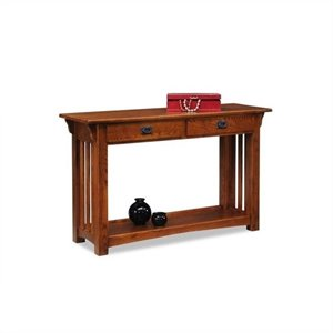Leick Furniture Mission Console Table with Drawers and Shelf in Oak