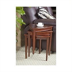 Leick Furniture Shield Stacking Corner Table Set in Glazed Auburn