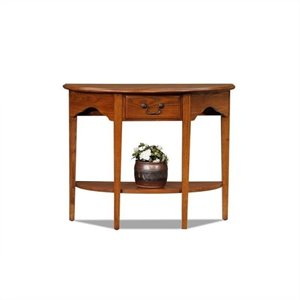 Leick Furniture Demilune Console Table in Medium Oak Finish