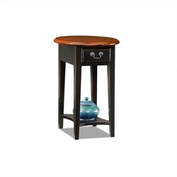 Leick Furniture Oval End Table in Slate Black Finish
