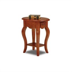 Leick Furniture French Oval End Table in Brown Cherry Finish