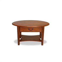 Leick Furniture Oval Coffee Table in Medium Oak Finish