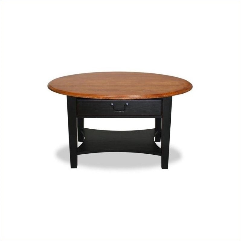 Leick Furniture Oval Coffee Table in Slate Black Finish