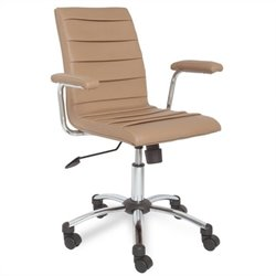 Leick Furniture Saddle Faux Leather Pleated Desk Chair in Light Brown