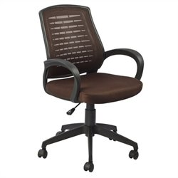 Leick Furniture Mesh Vented Back Office Chair in a Deep Brown Finish