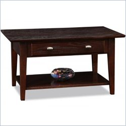 Leick Furniture Drawer Coffee Table in a Chocolate Oak Finish