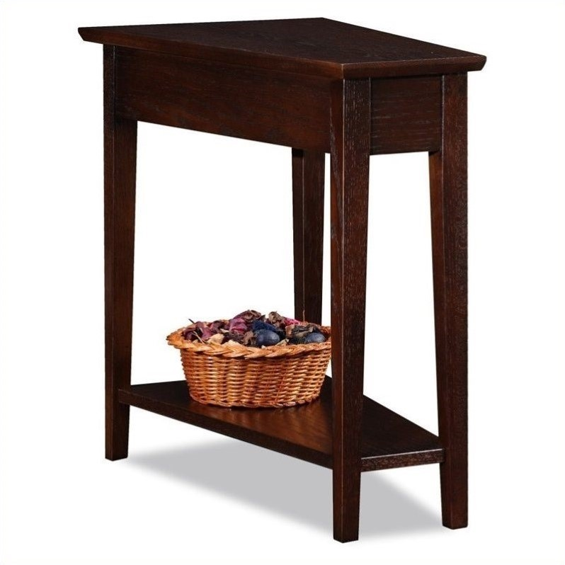 Leick Furniture Recliner Wedge Table in a Chocolate Oak Finish