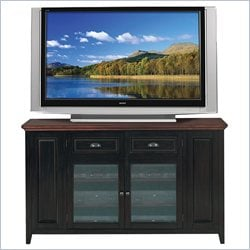 Leick Furniture Tall TV Stand in Black and Cherry Finish