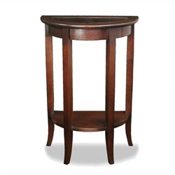Leick Furniture Glass Top Demilune Hall Stand in Chocolate Oak