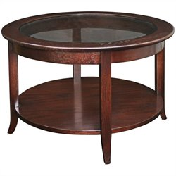 Leick Furniture Solid Wood Round Glass Top Coffee Table in Oak