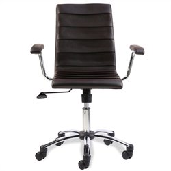 Leick Furniture Faux Leather Pleated Office Chair in Deep Brown