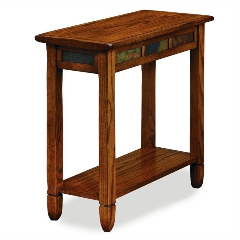 Leick Furniture Rustic Slate Chairside Small End Table In Rustic Oak