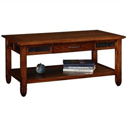 Leick Furniture Slatestone Storage Coffee Table in a Rustic Oak Finish