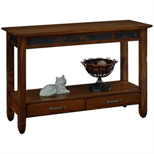 Leick Furniture Slatestone Storage Console Table in Rustic Oak