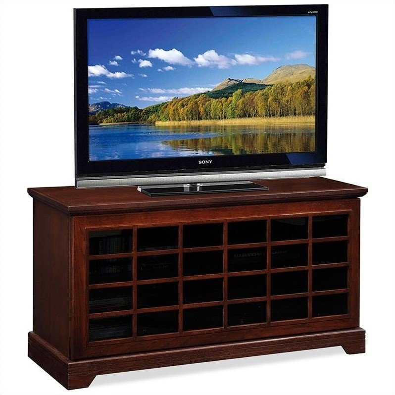 Grid TV Console with Two-way Sliding Grid Door in Oak