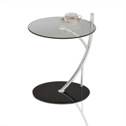Leick Favorite Finds Round Glass Contemporary Sofa Serving Table with a Glass Base