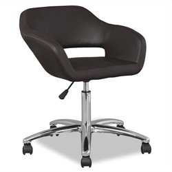 Leick Favorite Finds Upholstered Arm Office Chair in Deep Brown