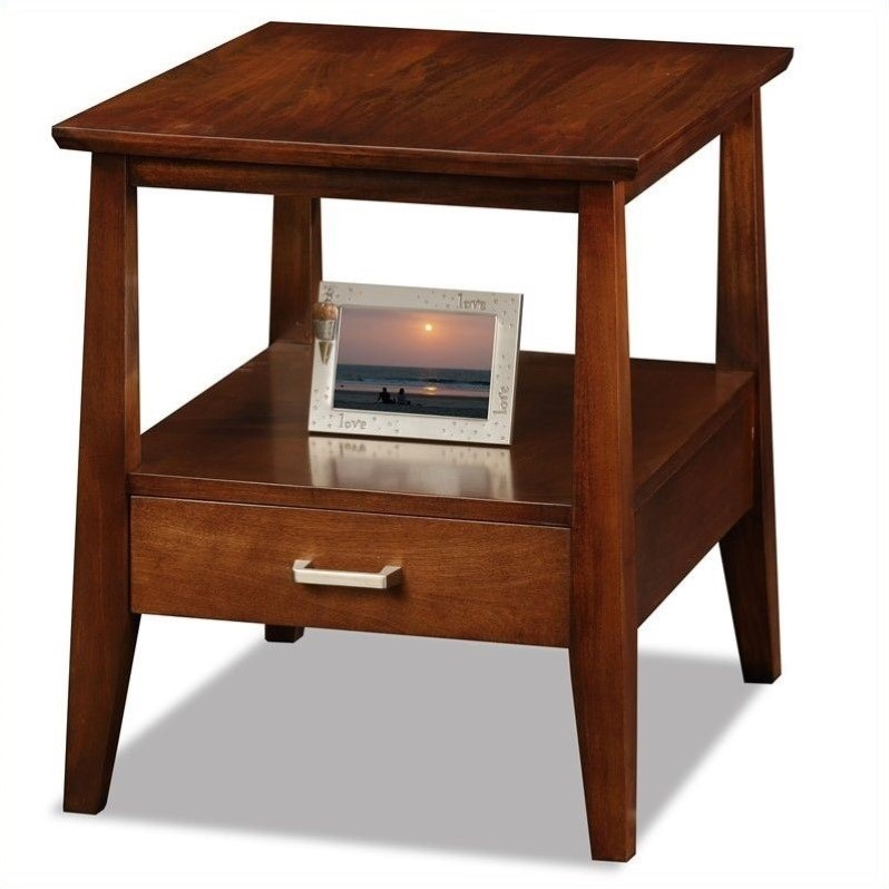 Leick Delton Storage Solid Wood End Table With Drawer In