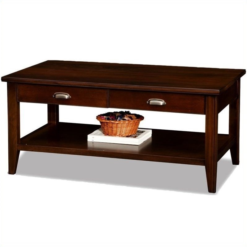 Leick laurent two drawer solid wood coffee table in chocolate cherry 10504 Cherry wood coffee tables