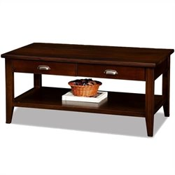Leick Laurent Two Drawer Solid Wood Coffee Table in Chocolate Cherry
