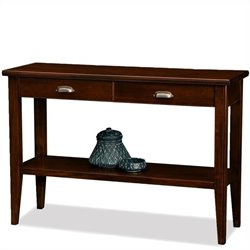 Leick Laurent Two Drawer Storage Solid Wood Console Table in Chocolate Cherry