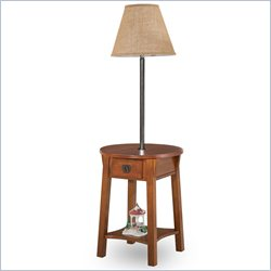 Leick Round Mission Solid Wood Lamp Table in Russet