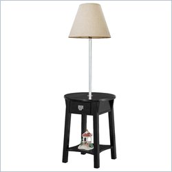 Leick Round Mission Solid Wood Lamp Table in Black
