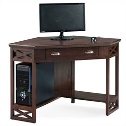 Leick Furniture Corner Computer Writing Desk in Chocolate Oak