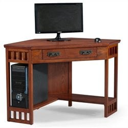 Leick Furniture Corner Computer Writing Desk in Mission Oak