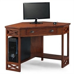 Leick Furniture Corner Computer Writing Desk in Oak