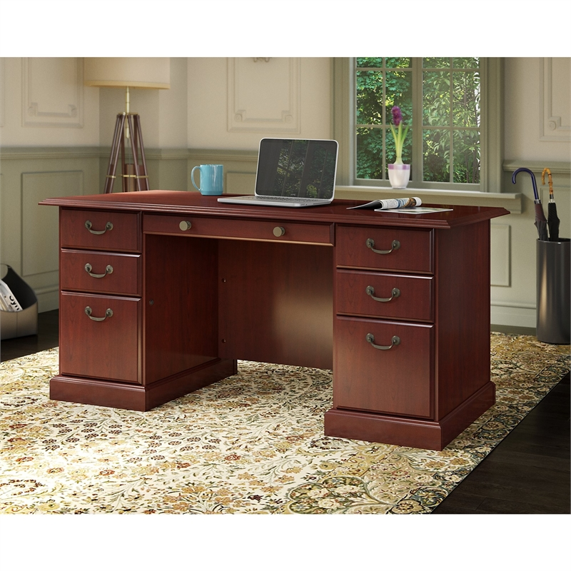 Kathy Ireland Office by Bennington Manager's Desk in Harvest Cherry