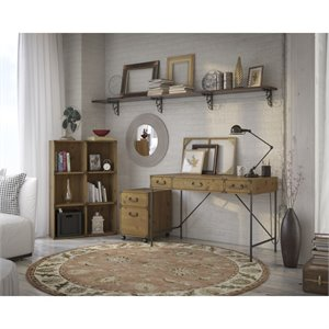 Kathy Ireland Office by Bush Ironworks Desk with Bookcase and File Cabinet
