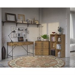 Kathy Ireland by Bush Ironworks 3 Piece Office Set in Golden Pine