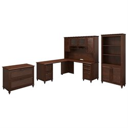 Kathy Ireland by Bush Volcano Dusk 4 Piece Office Set in Cherry