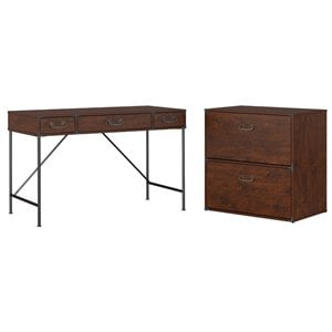 Kathy Ireland Office by Bush Ironworks Desk with Lateral File Cabinet