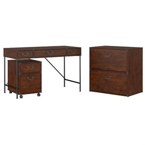 Kathy Ireland Office by Bush Ironworks Desk with Lateral File Cabinet and Mobile File Cabinet